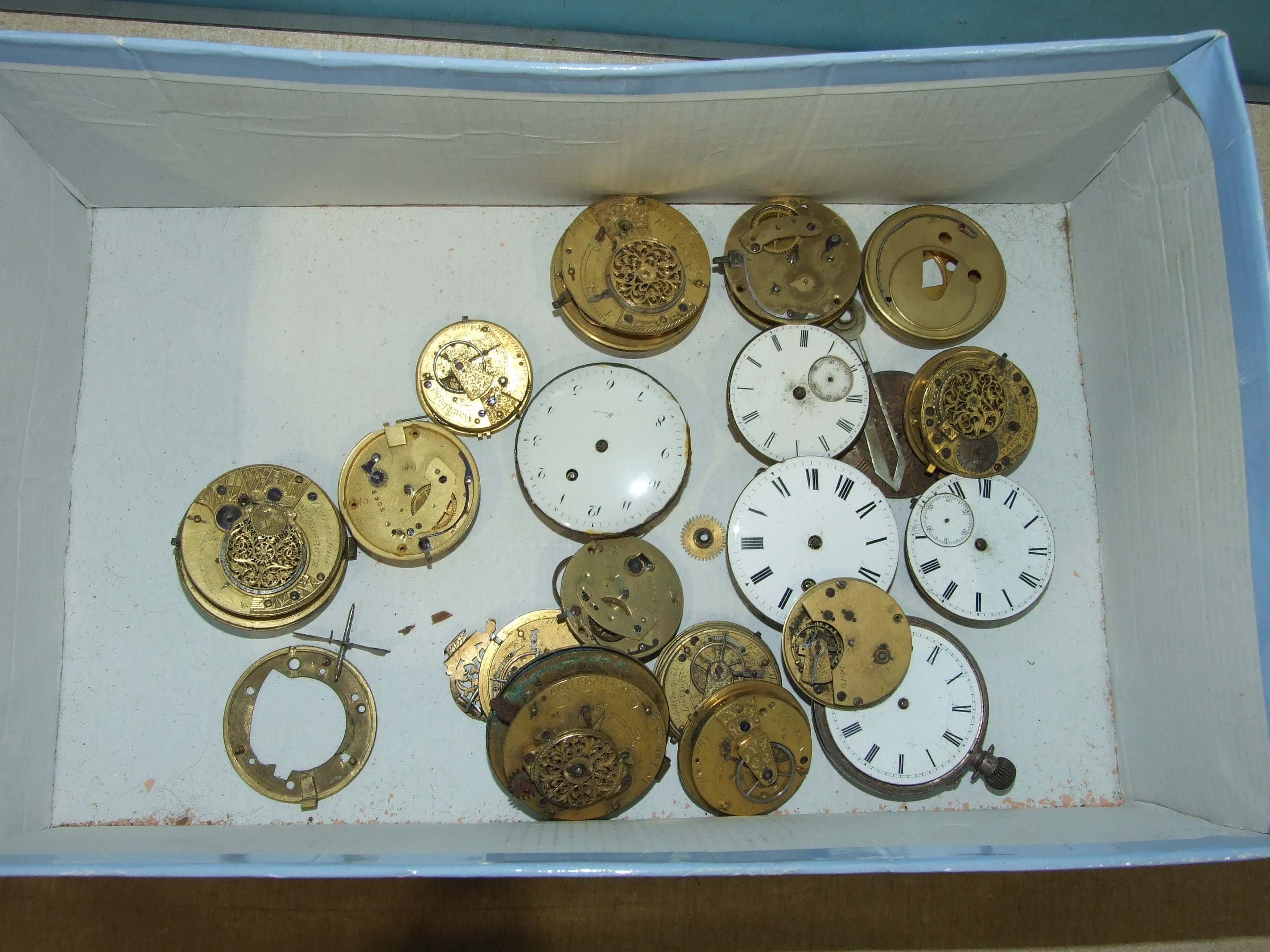 Lot 186 - Seven white metal pocket watches, (a/f), including a silver pair-case watch case and various