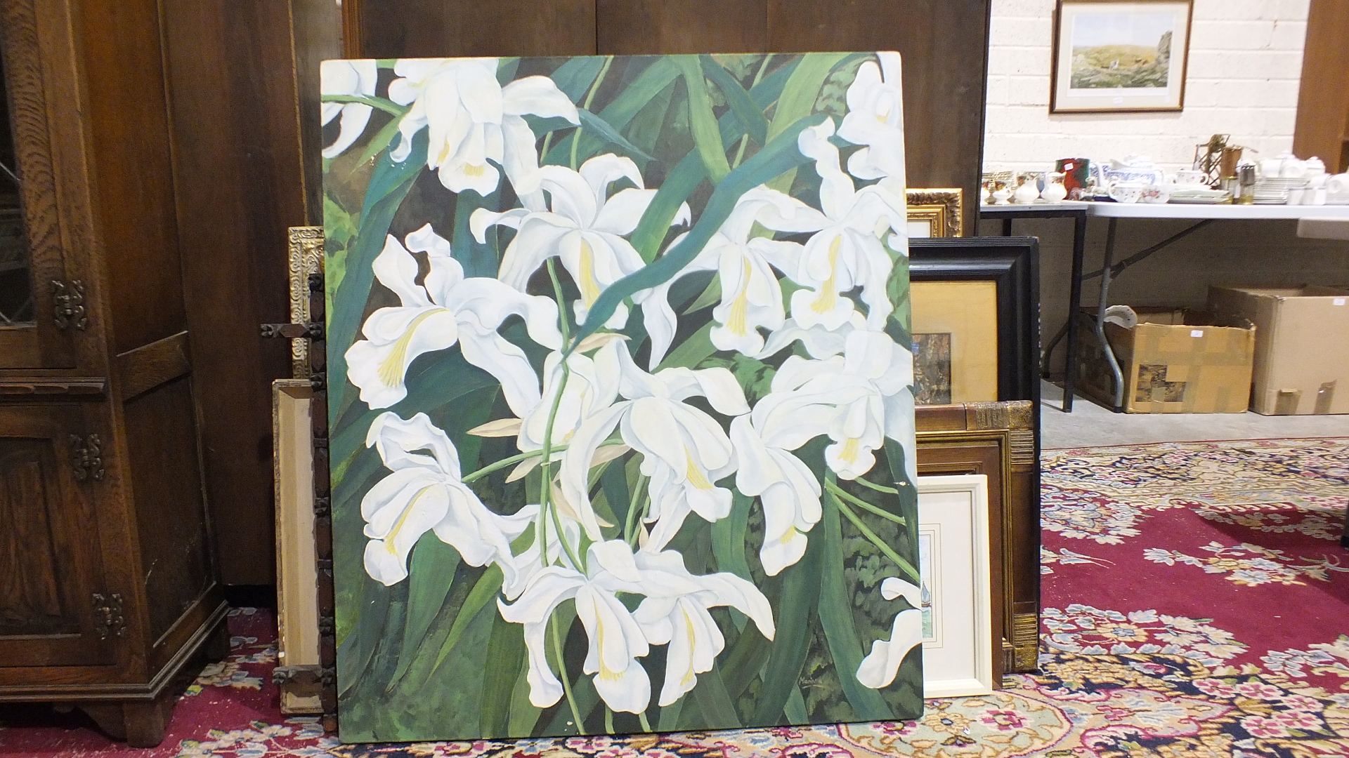 """Lot 56 - Mariana Mihalic, """"White orchids"""", unframed oil on canvas, signed and inscribed verso, 90 x 104cm and"""