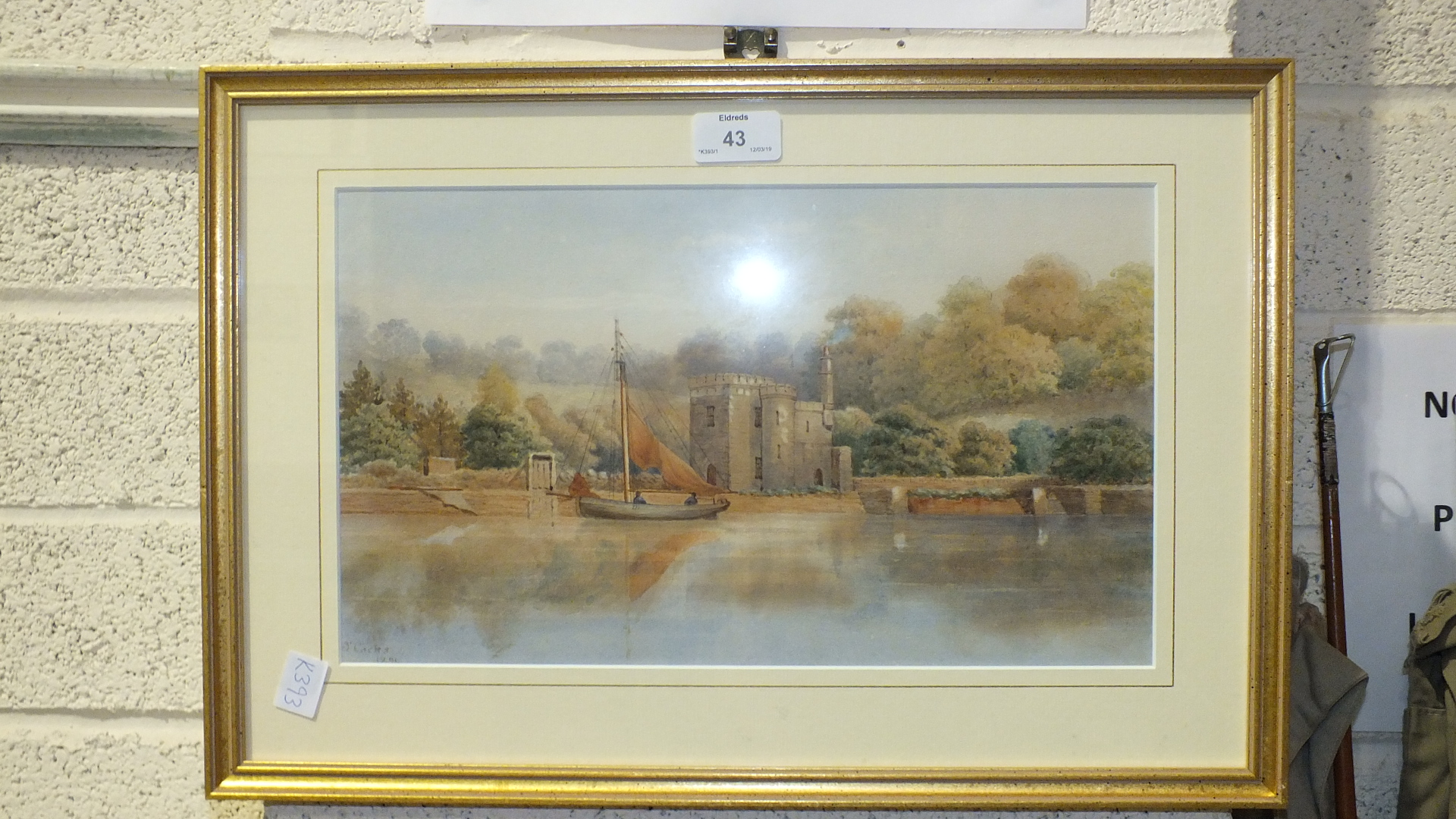 Lot 43 - J Cocks, 'Rowing to the Castle Lodge, Hooe Lake', a watercolour, signed and dated 1891, 22.5 x 37cm,