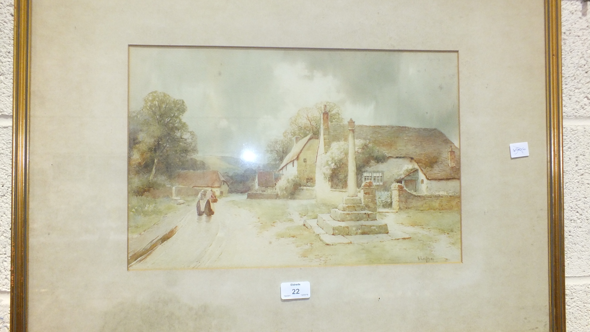 Lot 22 - T Head, 'Two figures walking along a country lane towards a cottage', a signed watercolour, 49 x