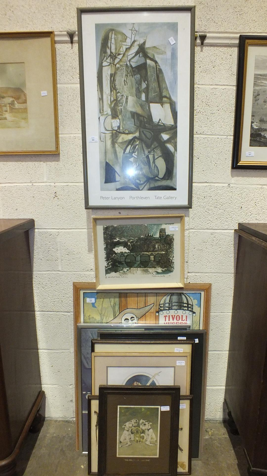 Lot 54 - A Peter Lanyon advertising poster and other paintings and prints.