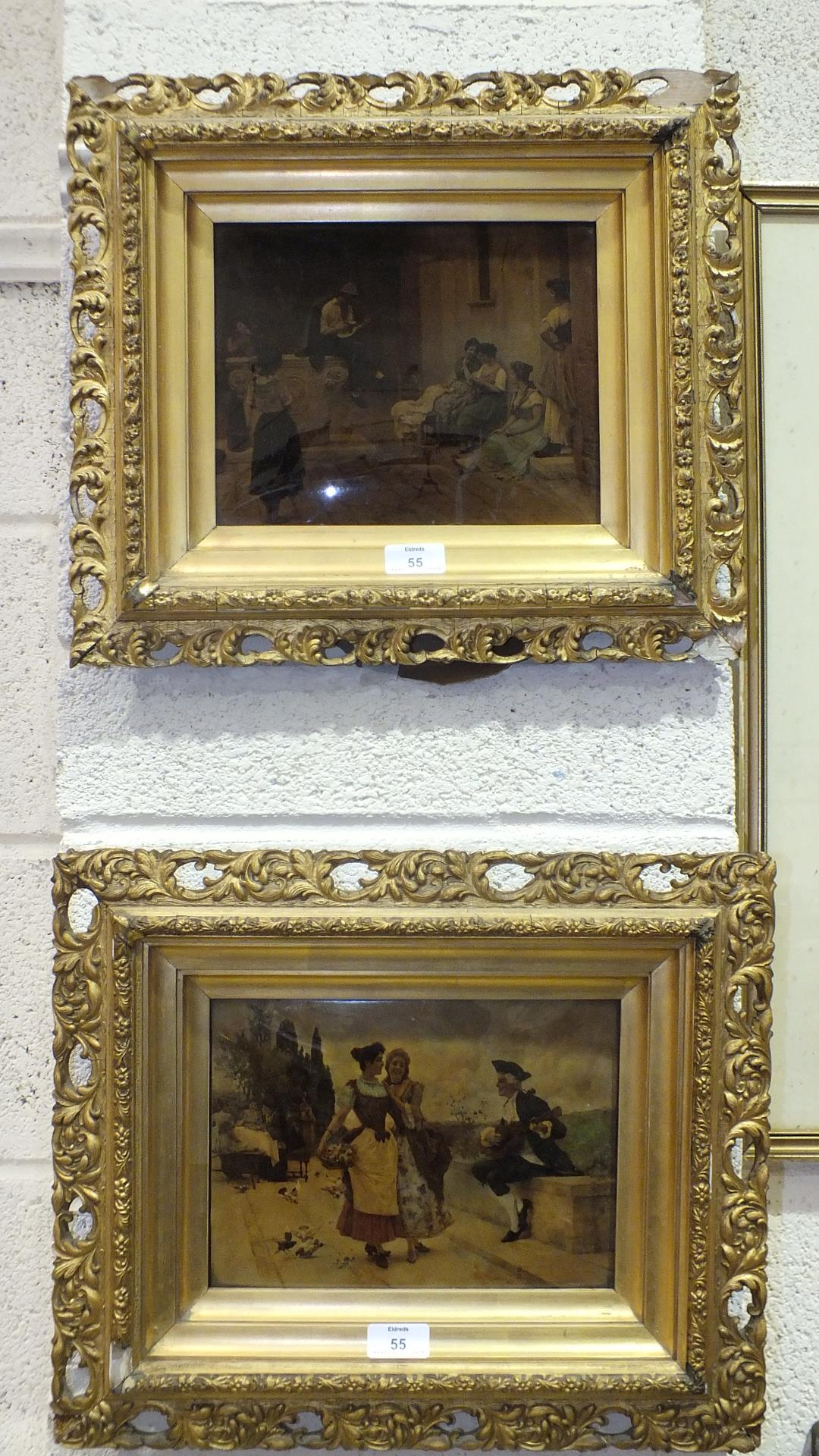 Lot 55 - Two framed crystoleum prints, 20 x 28cm.