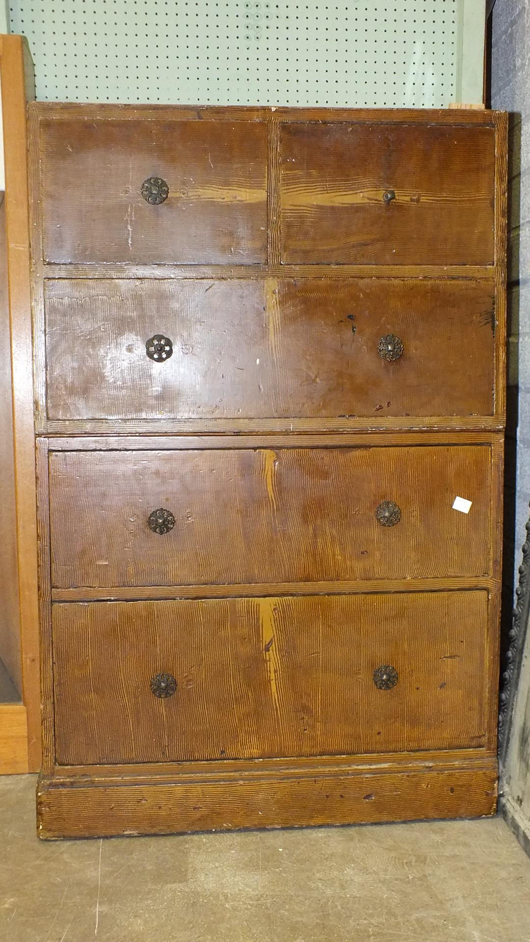Lot 6 - A grained wood two-part chest of two short and three long drawers, 72cm wide, 112cm high.