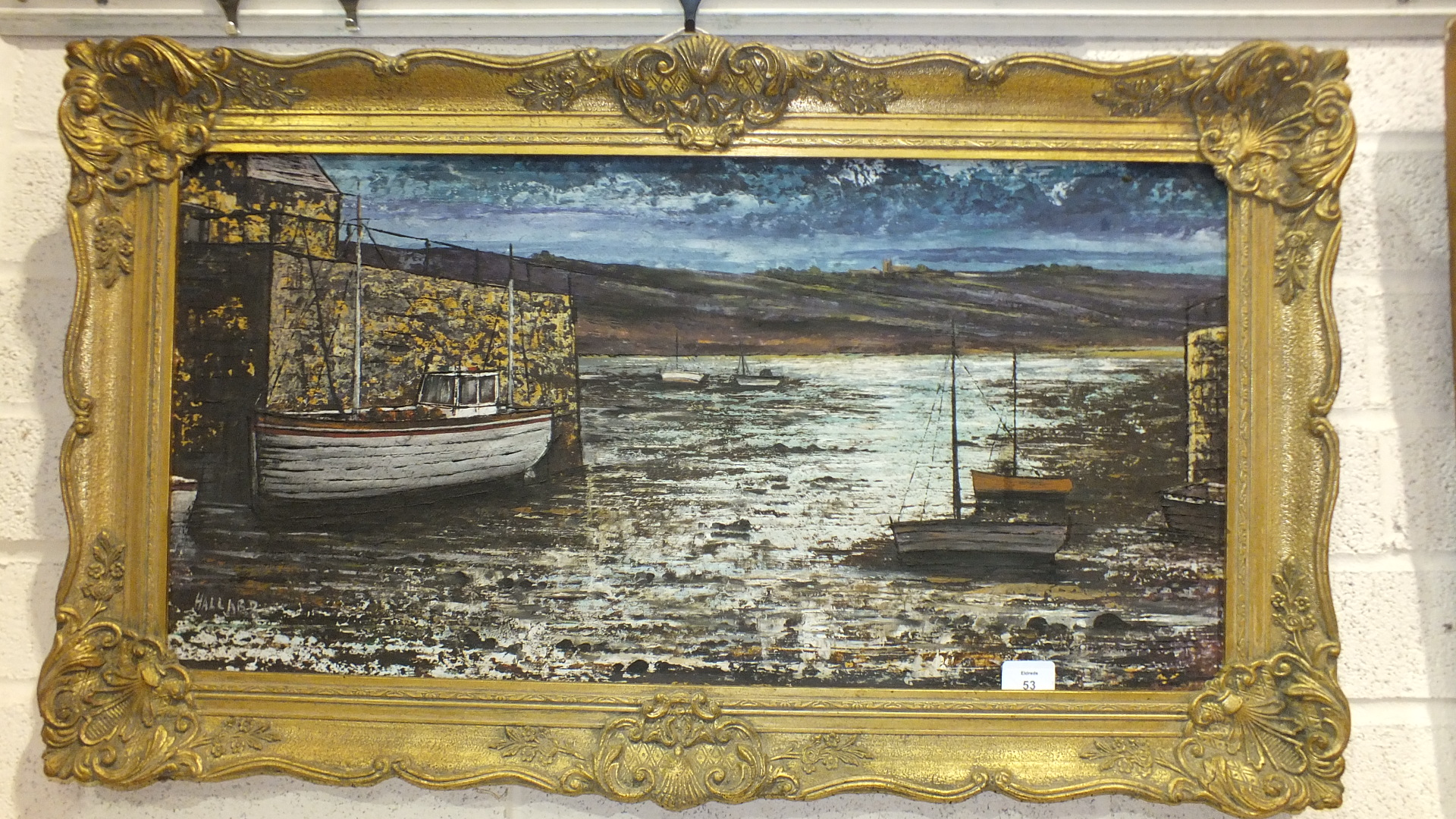 """Lot 53 - Nigel Halland, """"Fishing Boat Moored at a Quay"""", signed oil on board, 39 x 79cm and an abstract still"""