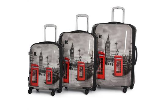 1 x IT Luggage 3 Piece Suitcase Set - London Big Ben & Red Phone ...