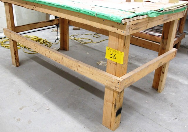 "Lot 36 - LOT OF 6 TABLES: 4 WOOD CARPETED TOP WORK TABLES, 48""D X 96""L X 37""T AND 2 WOOD TOP WORK TABLES,"