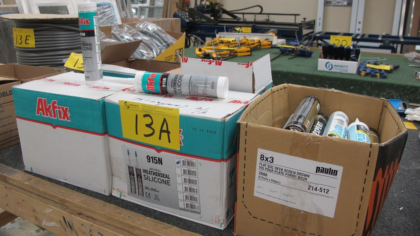 Lot 13A - LOT OF (5) BOXES OF AKFIX WEATHER SEAL SILICONE