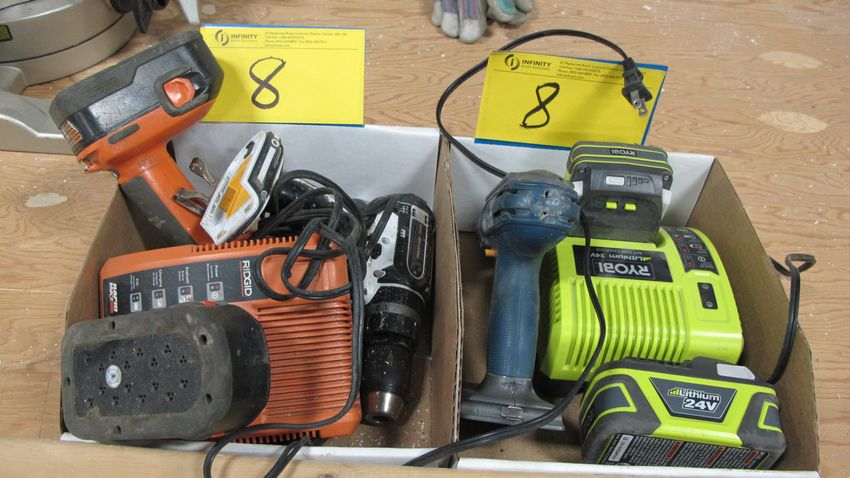 Lot 8 - LOT OF (2) BOXES OF CORDLESS DRILLS AND CHARGERS