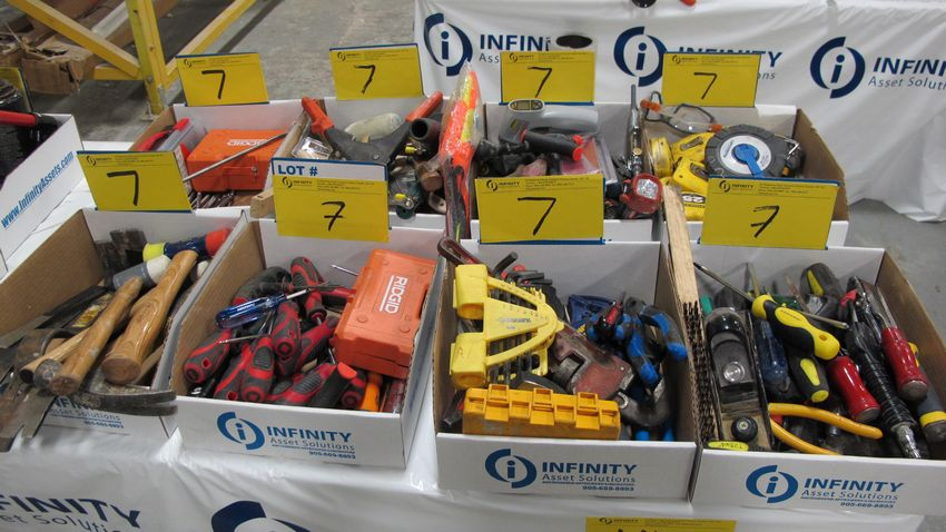 Lot 7 - LOT OF (8) BOXES OF ASST. HAND TOOLS