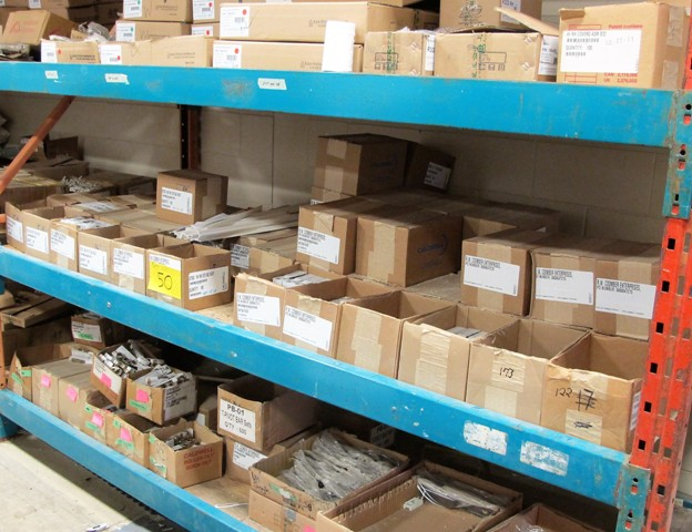 Lot 50 - CONTENTS OF 1 SECTION OF RACKING (NO RACK) (WINDOW PARTS, SINGLE AND DUAL ARM KITS, PIVOTAL SETS,