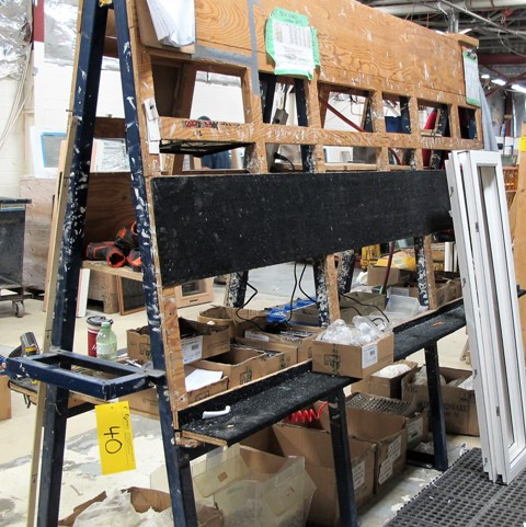 """Lot 40 - """"A"""" FRAME STYLE HARDWARE ADDING STATION W/HARDWARE, 10'L X 3'D X 7'T"""