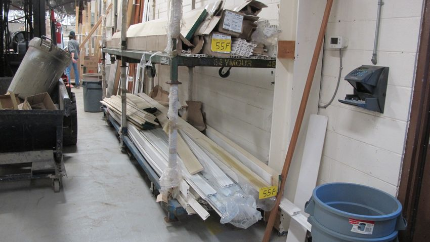 Lot 55F - CONTENTS OF (2) CARTS, WOOD AND VINYL, 16' LENGTHS