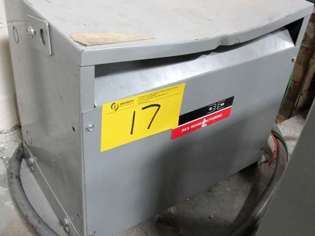 Lot 17 - REX MANUFACTURING TRANSFORMER, 15 KVA, 3 PHASE