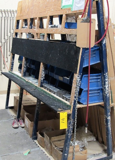 """Lot 41 - """"A"""" FRAME STYLE HARDWARE ADDING STATION W/HARDWARE, 8'L X 3'D X 7'T"""