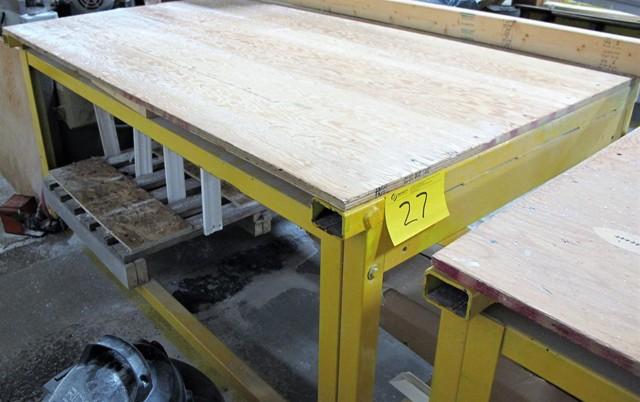 """Lot 27 - STEEL/WOOD TOP WORK TABLE, 44""""D X 70""""L X 36""""T"""