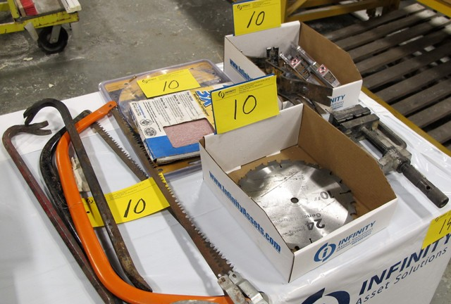 Lot 10 - LOT OF SAWS, PRY BARS, MACHINE VISE, CUTTING BLADES, SAND PAPER
