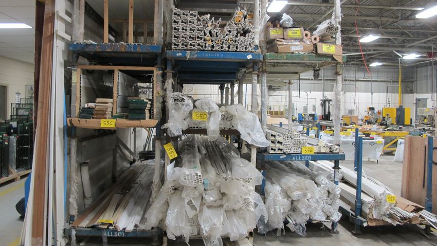 Lot 55D - CONTENTS OF (4) VERTICAL STACKED CARTS, VINYL, 16' LENGTHS