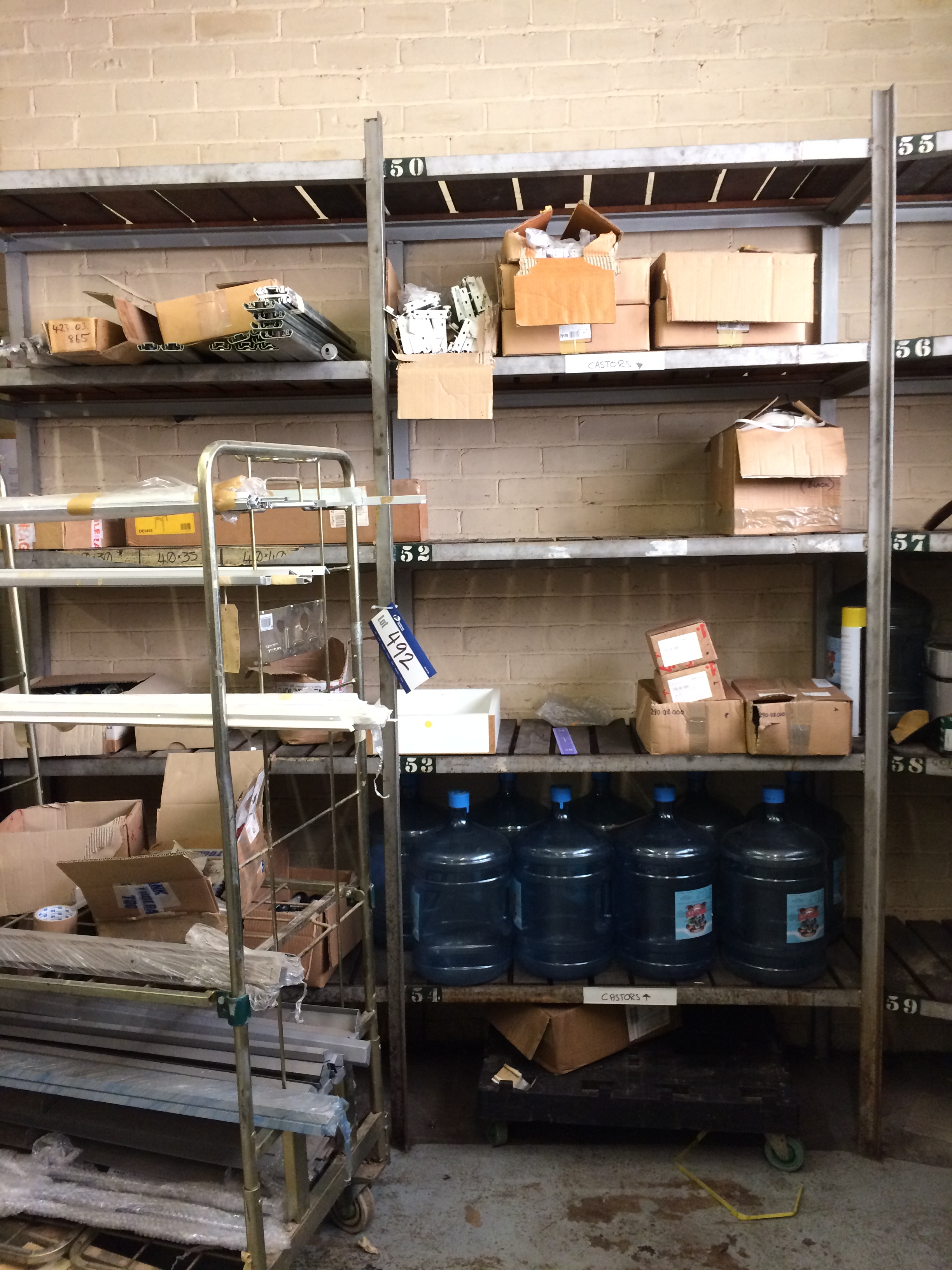 Lot 492 - Contents to 26 Bays of Welded Shelving including Hafele ...