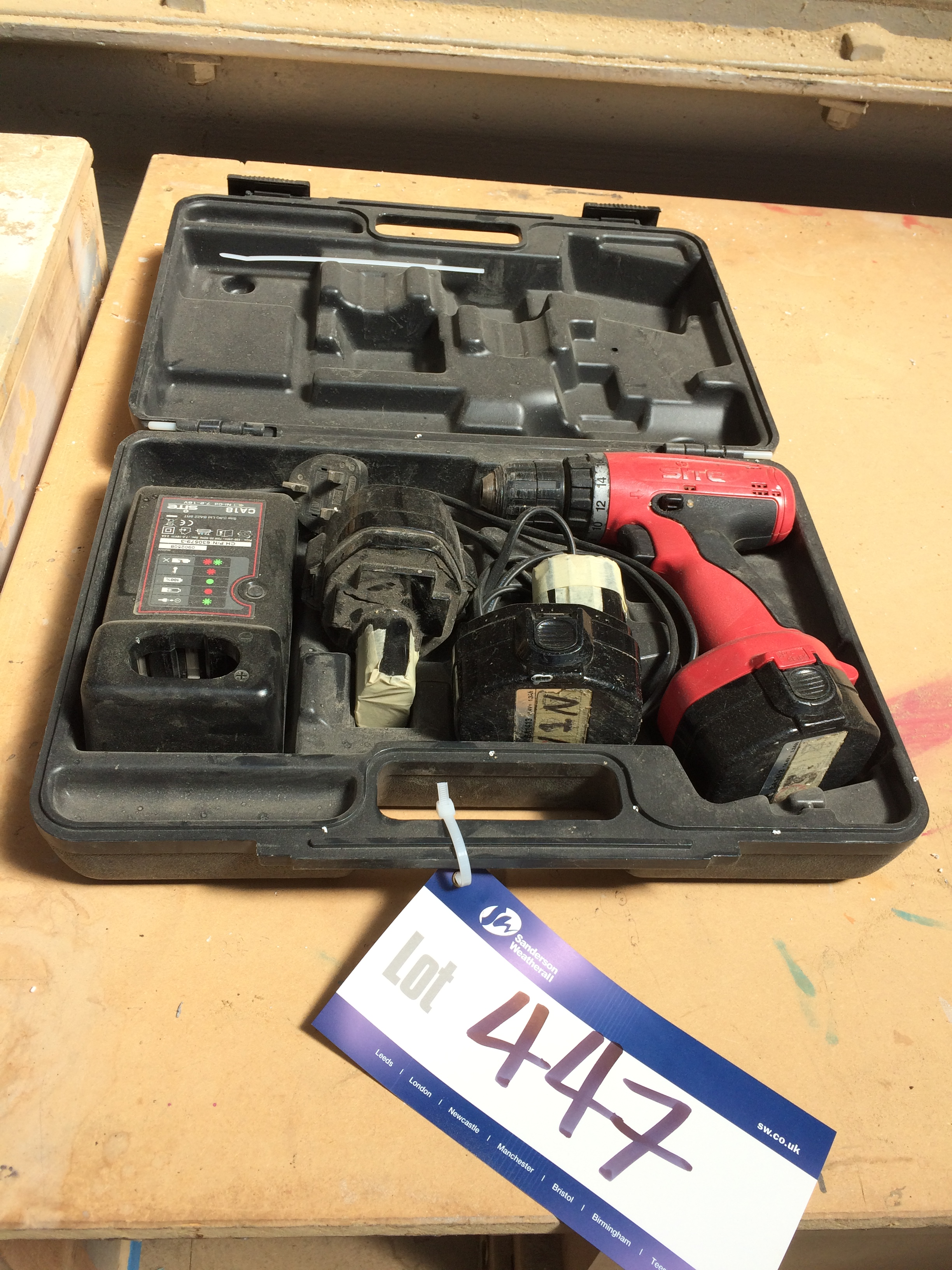 Lot 447 - Site Cordless Drill c/w 2 Batteries and Charger (please note ...