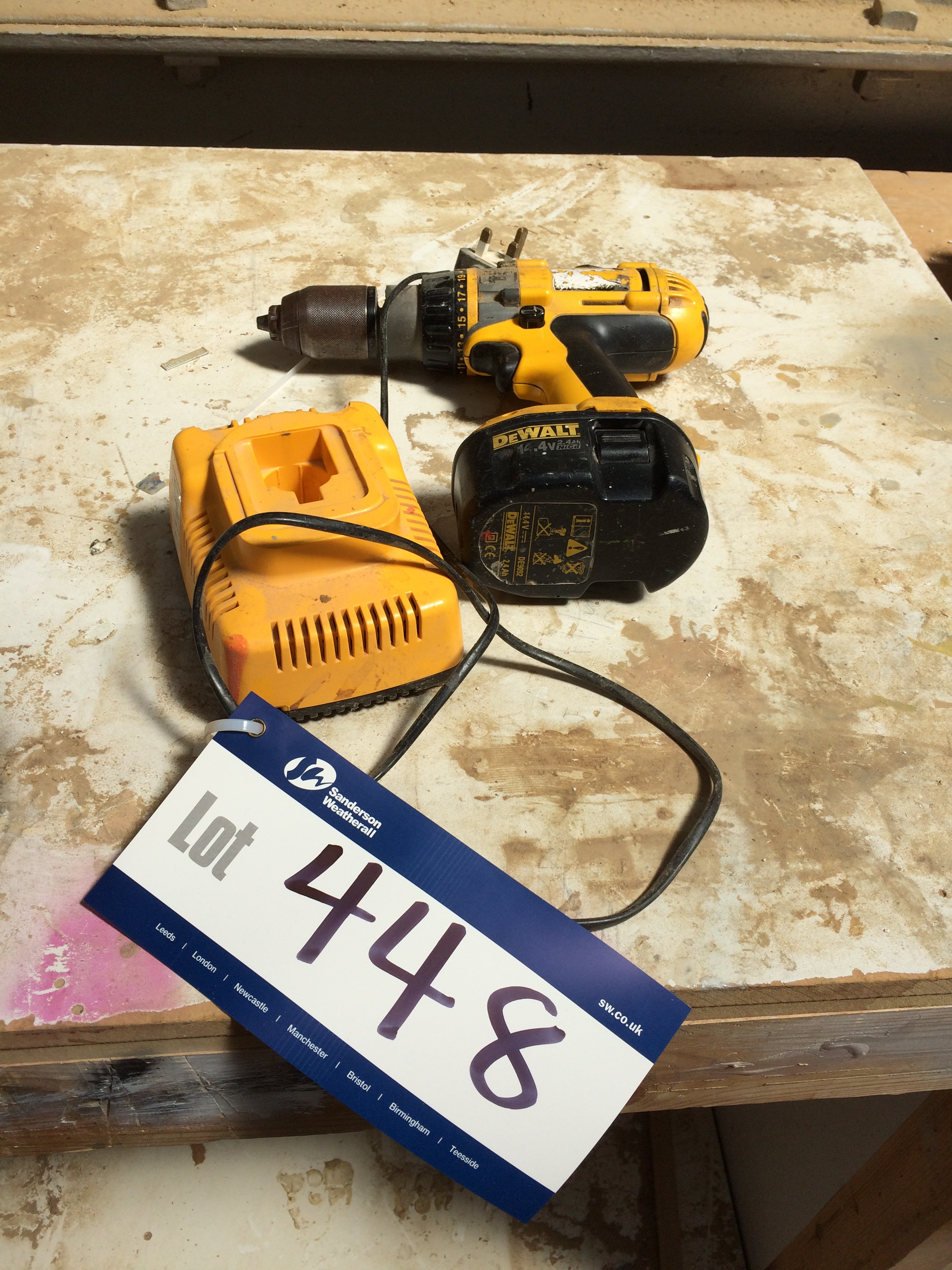 Dewalt Cordless Drill c/w Charger (please note - this lot ...