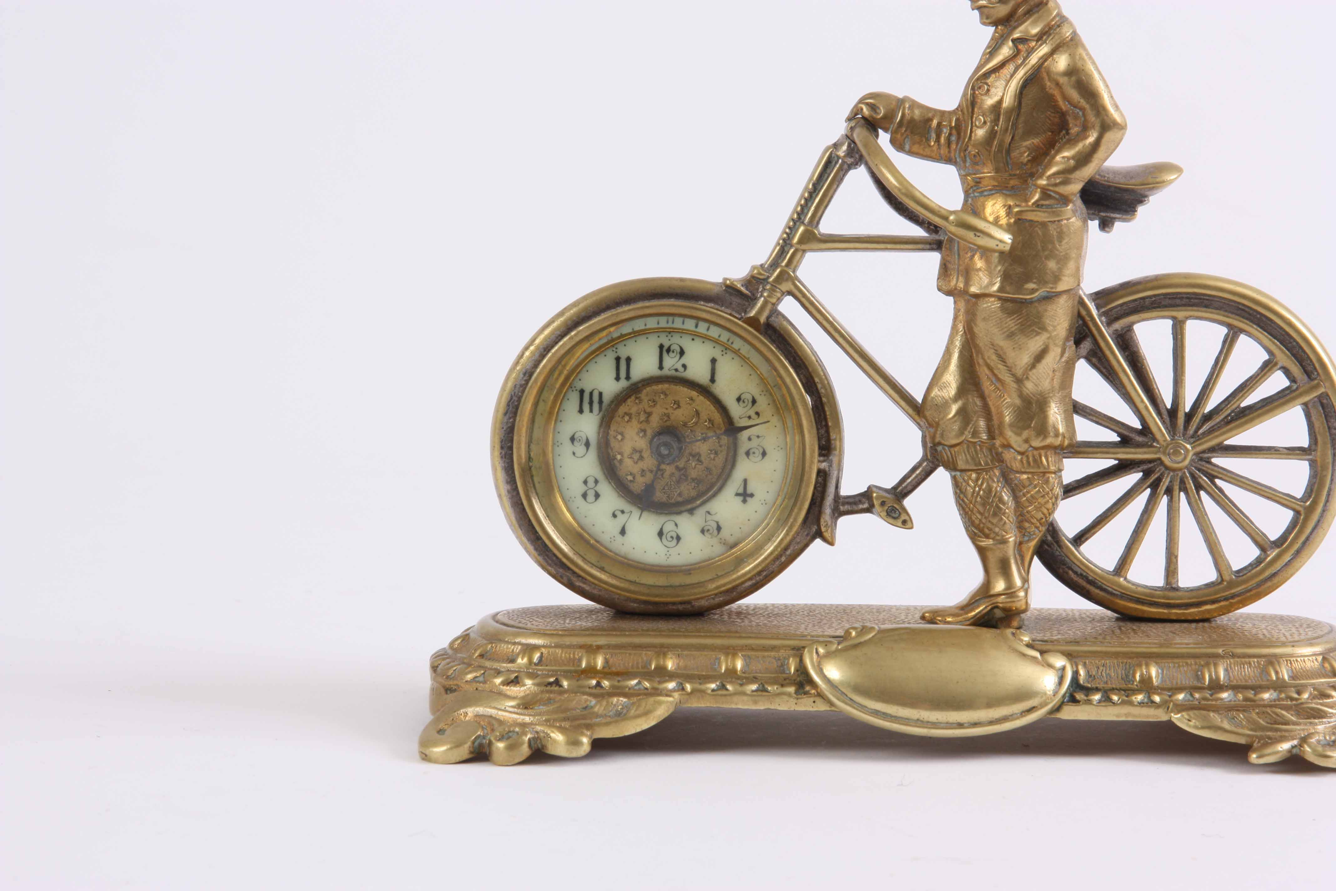 Lot 267 - A LATE 19th CENTURY ENGLISH NOVELTY DESK CLOCK formed as a gilt well dressed gentleman stood next to
