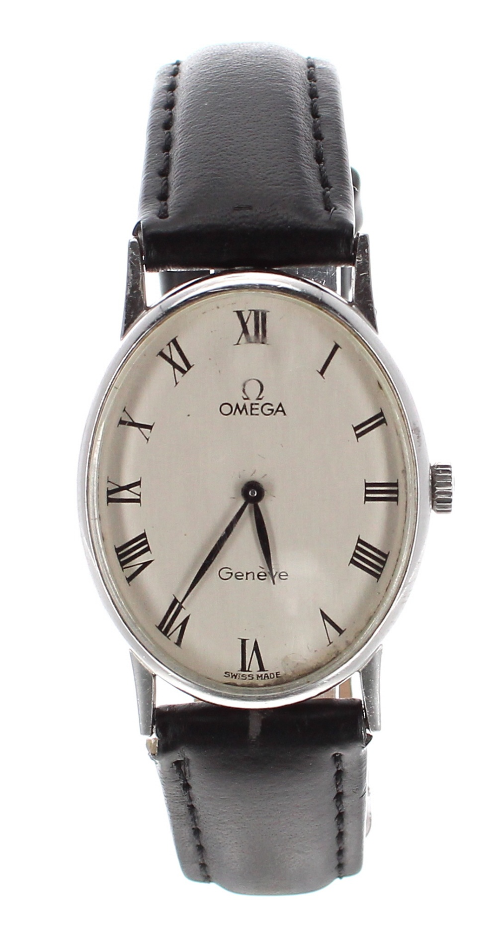 Lot 7 - Omega Genéve oval cased stainless steel unisex wristwatch, ref. 511.416, oval silvered dial, with