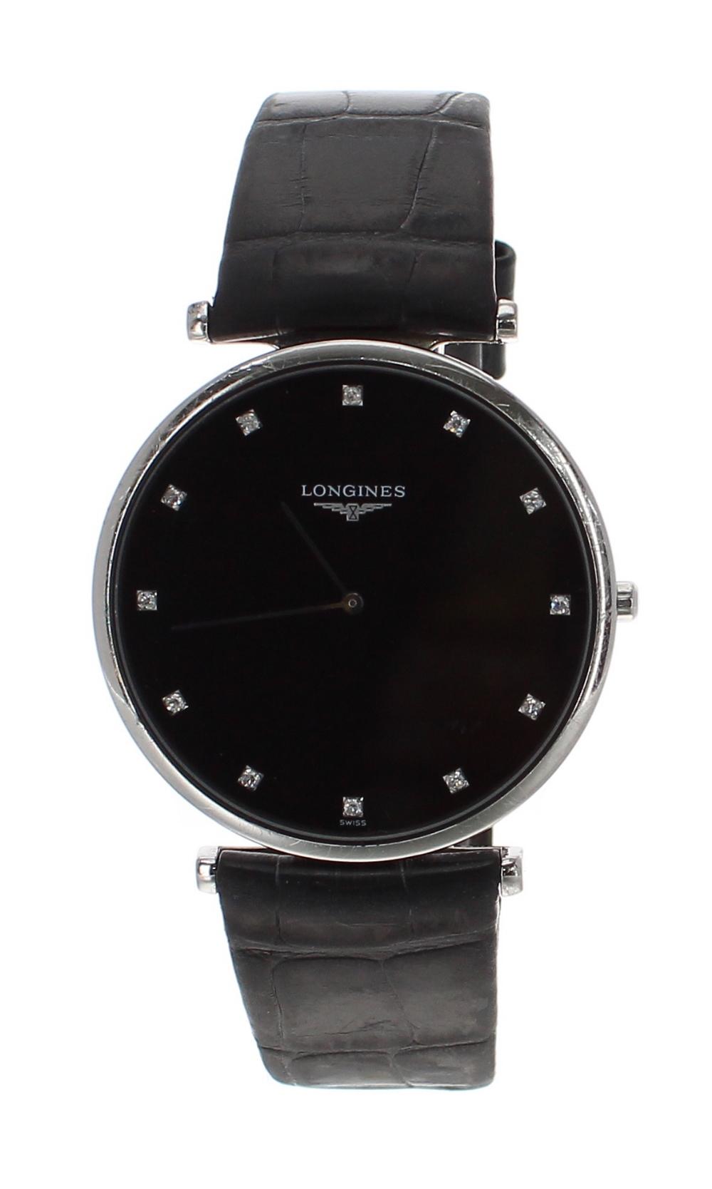 Lot 56 - Longines La Grande Classique stainless steel gentleman's wristwatch, ref. L4 766 4, circular black