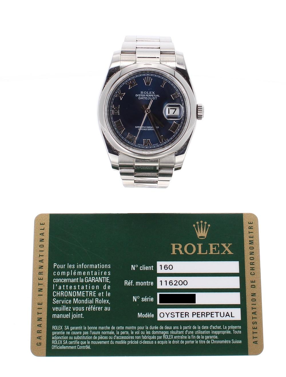 Lot 34 - Rolex Oyster Perpetual DateJust stainless steel gentleman's bracelet watch, ref. 116200, ser. no.