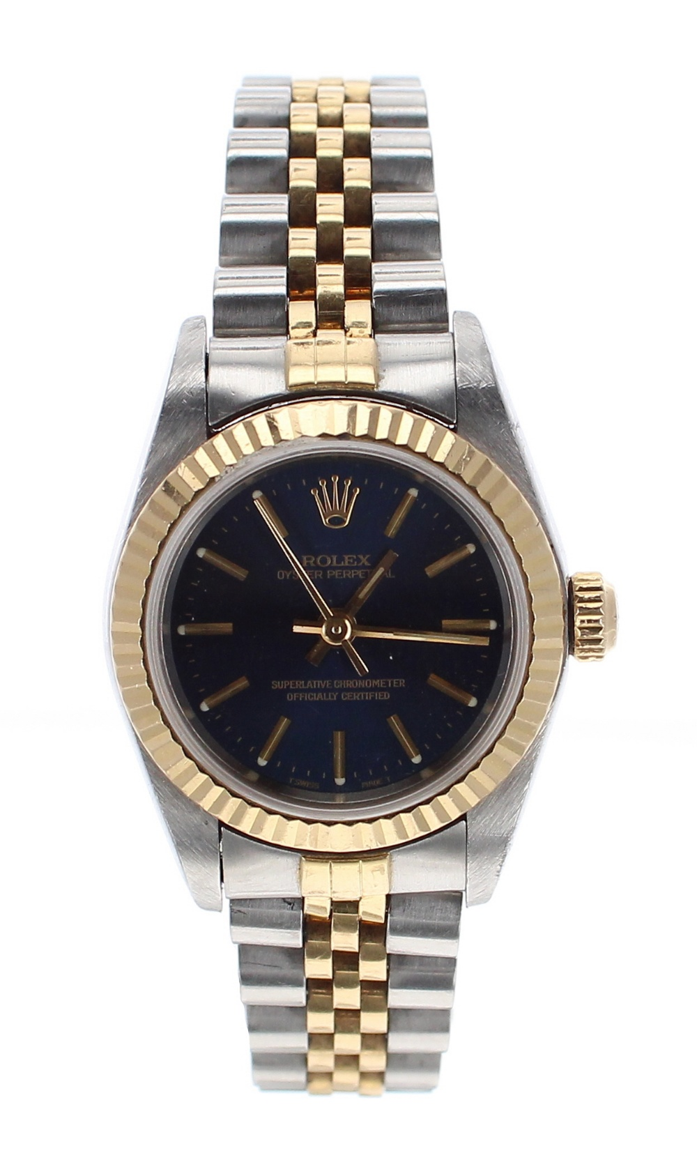 Lot 32 - Rolex Oyster Perpetual stainless steel and gold lady's bracelet watch, circular blue dial with baton