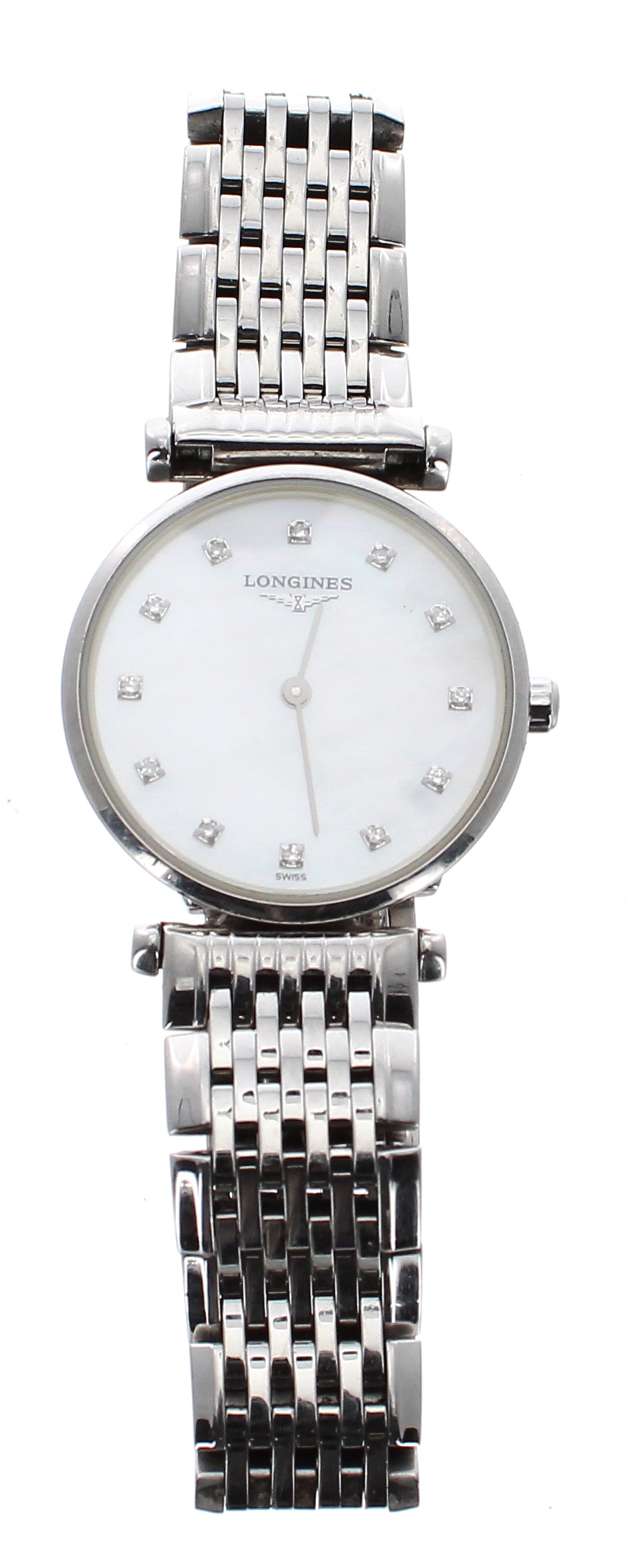 Lot 42 - Longines La Grande Classique stainless steel lady's bracelet watch, ref. L4.209.4, mother of pearl