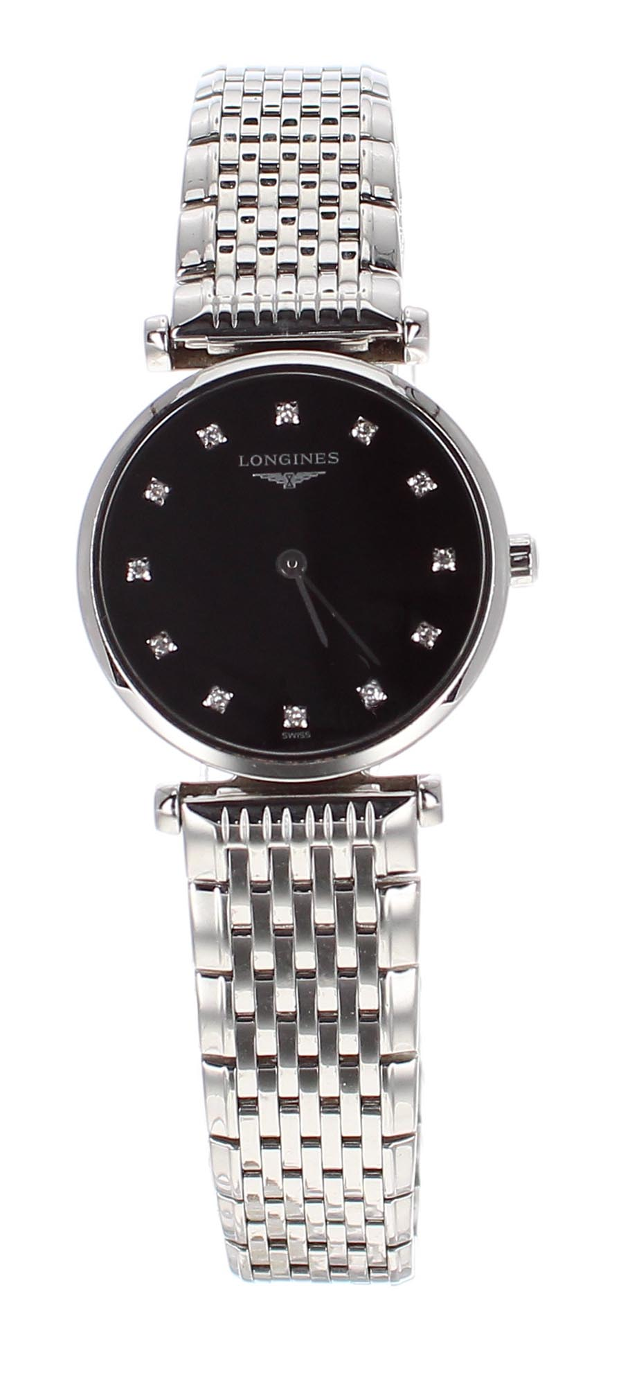 Lot 52 - Longines La Grande Classique stainless steel lady's bracelet watch, ref. L4 209 4, black dial with
