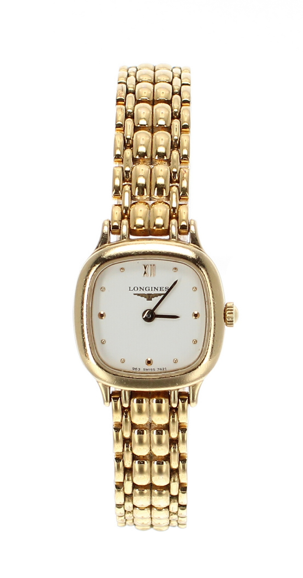Lot 40 - Longines square cased gold plated and stainless steel lady's bracelet watch, ref. L5 125 2,