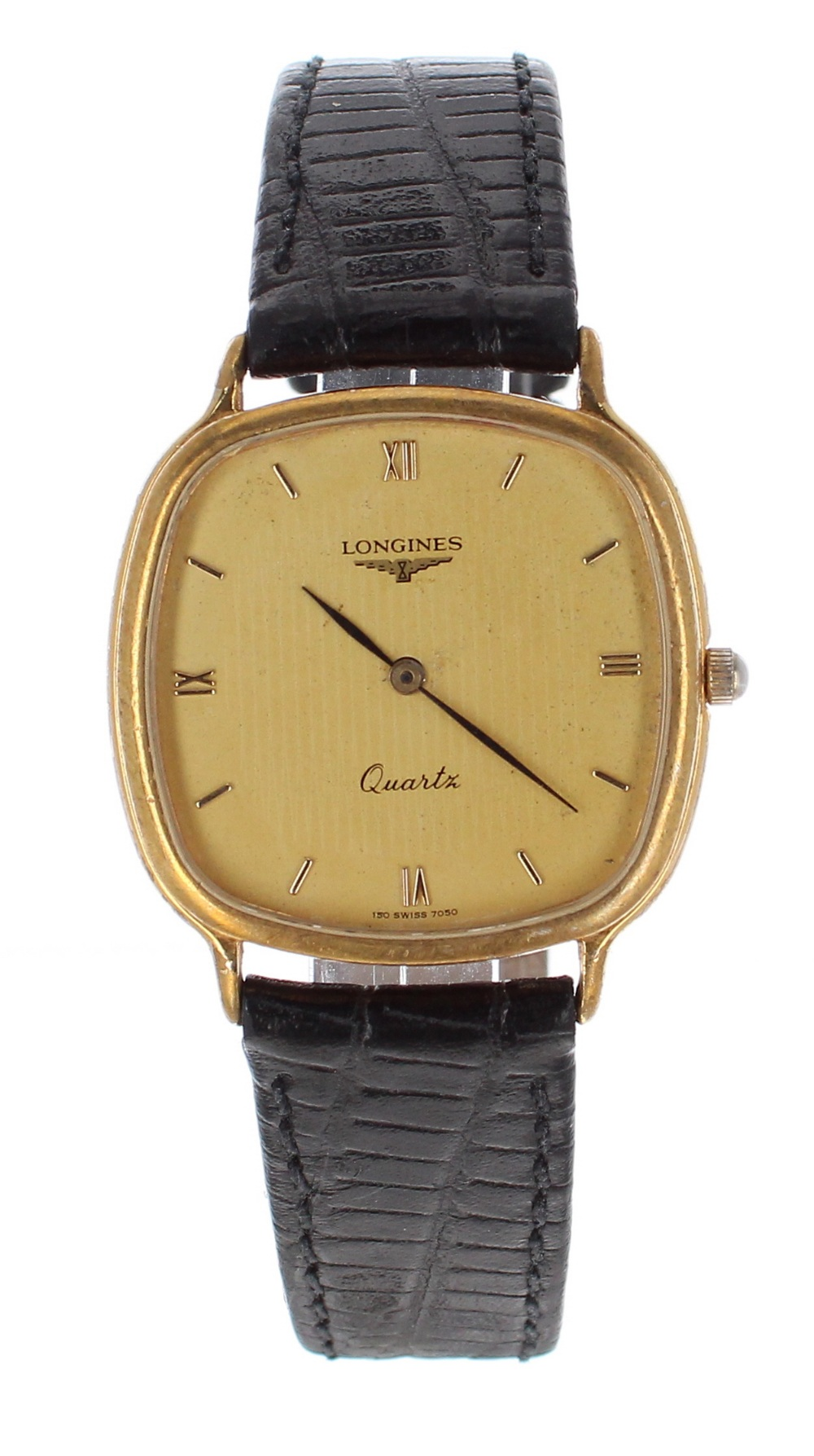 Lot 49 - Longines Quartz square cased gold plated and stainless steel gentleman's dress watch, squared