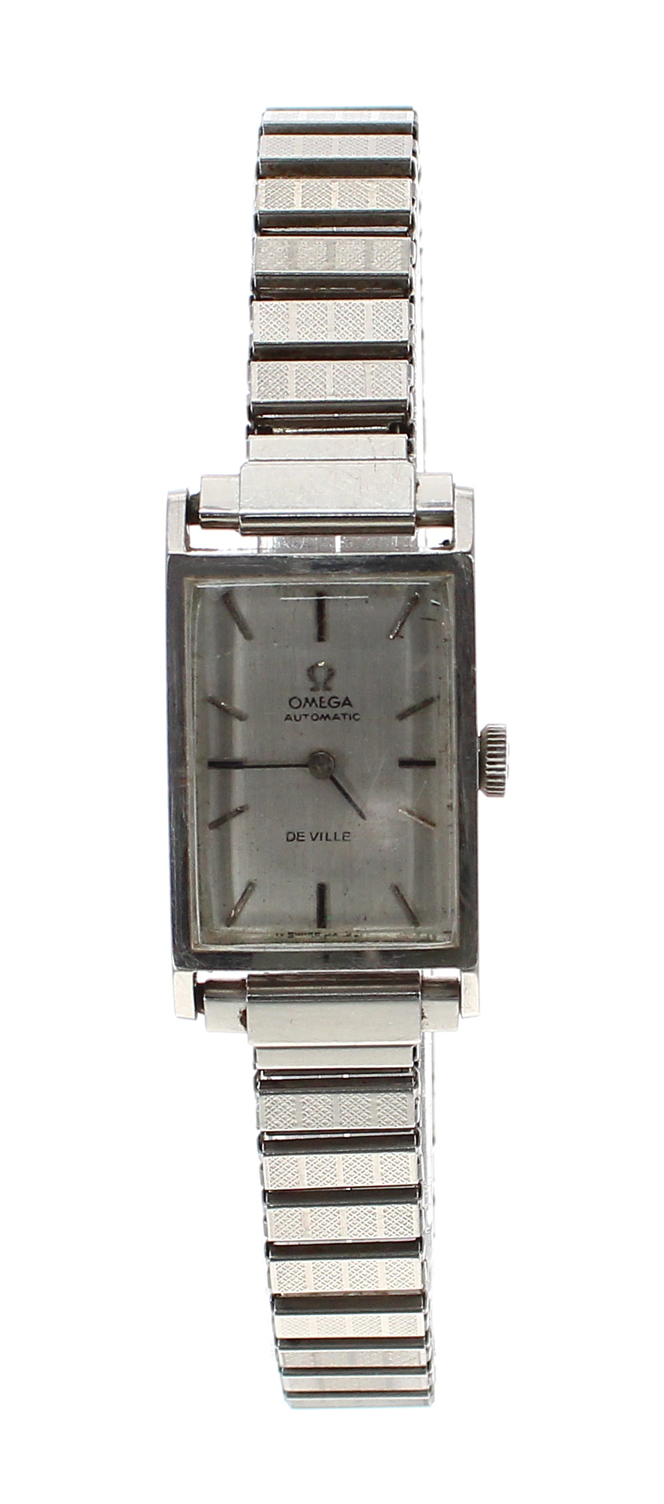 Lot 16 - Omega DeVille automatic rectangular stainless steel lady's bracelet watch, ref. 551.015, circa 1964,