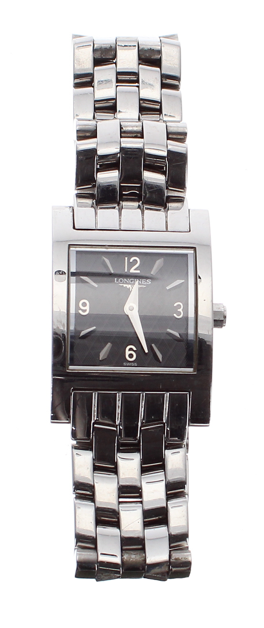 Lot 43 - Longines Dolce Vita curved rectangular stainless steel lady's bracelet watch, ref. L5 166 4,