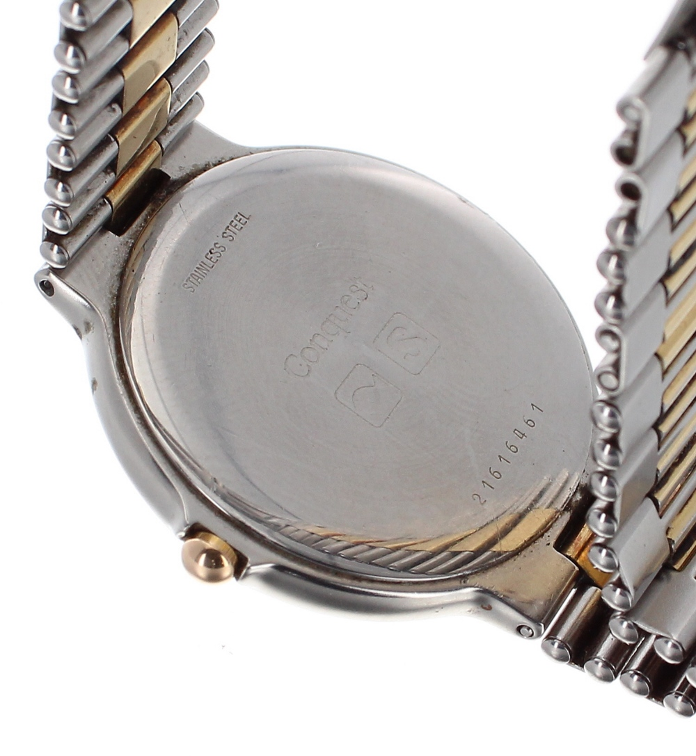 Lot 44 - Longines Conquest two tone gentleman's bracelet watch, no. 21616461, white dial with hour markers,