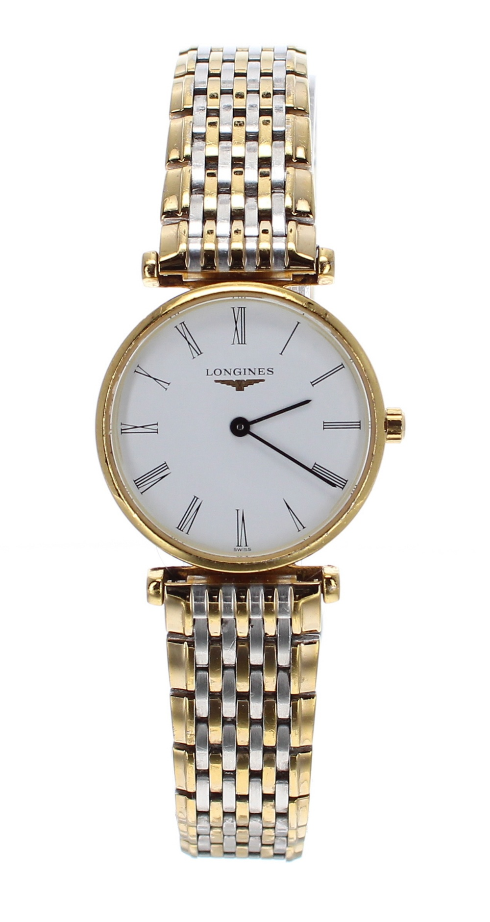 Lot 47 - Longines La Grande Classique bicolour lady's bracelet watch, ref. L4 209 2, circular white dial,