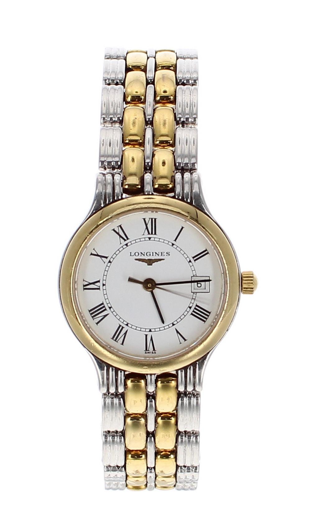 Lot 60 - Longines Presence bicolour lady's bracelet watch, ref. L5 149 3, circular white dial with Roman
