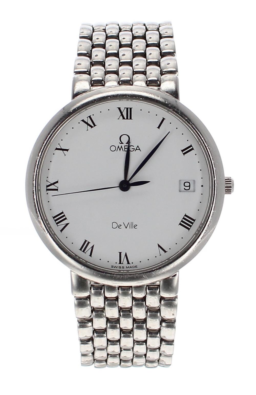 Lot 8 - Omega DeVille stainless steel gentleman's bracelet watch, ref. 396 2432, no. 5427xxxx, circa 1993,