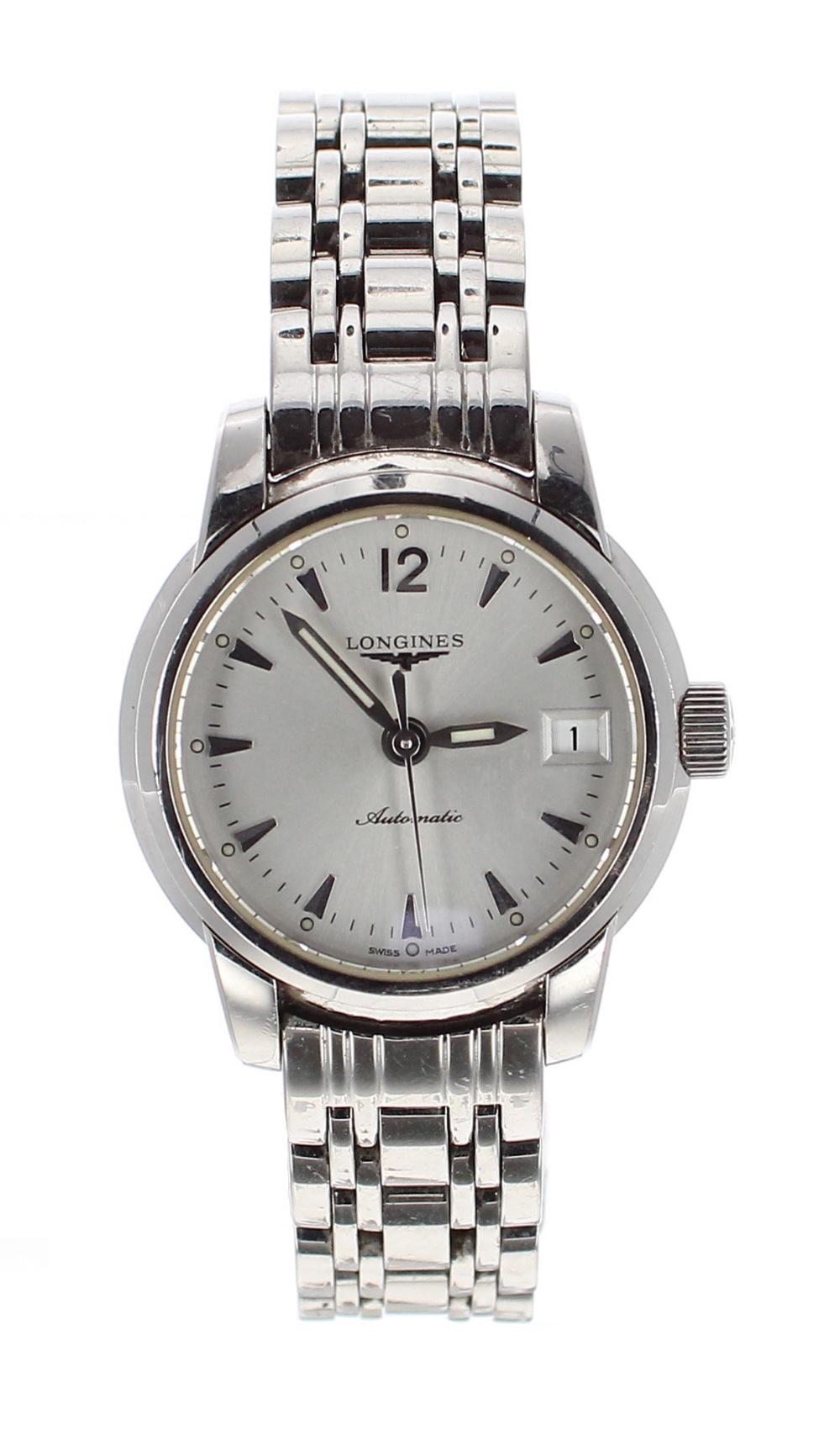 Lot 53 - Longines Saint-Imier automatic stainless steel lady's bracelet watch, ref. L2.263.4, circular
