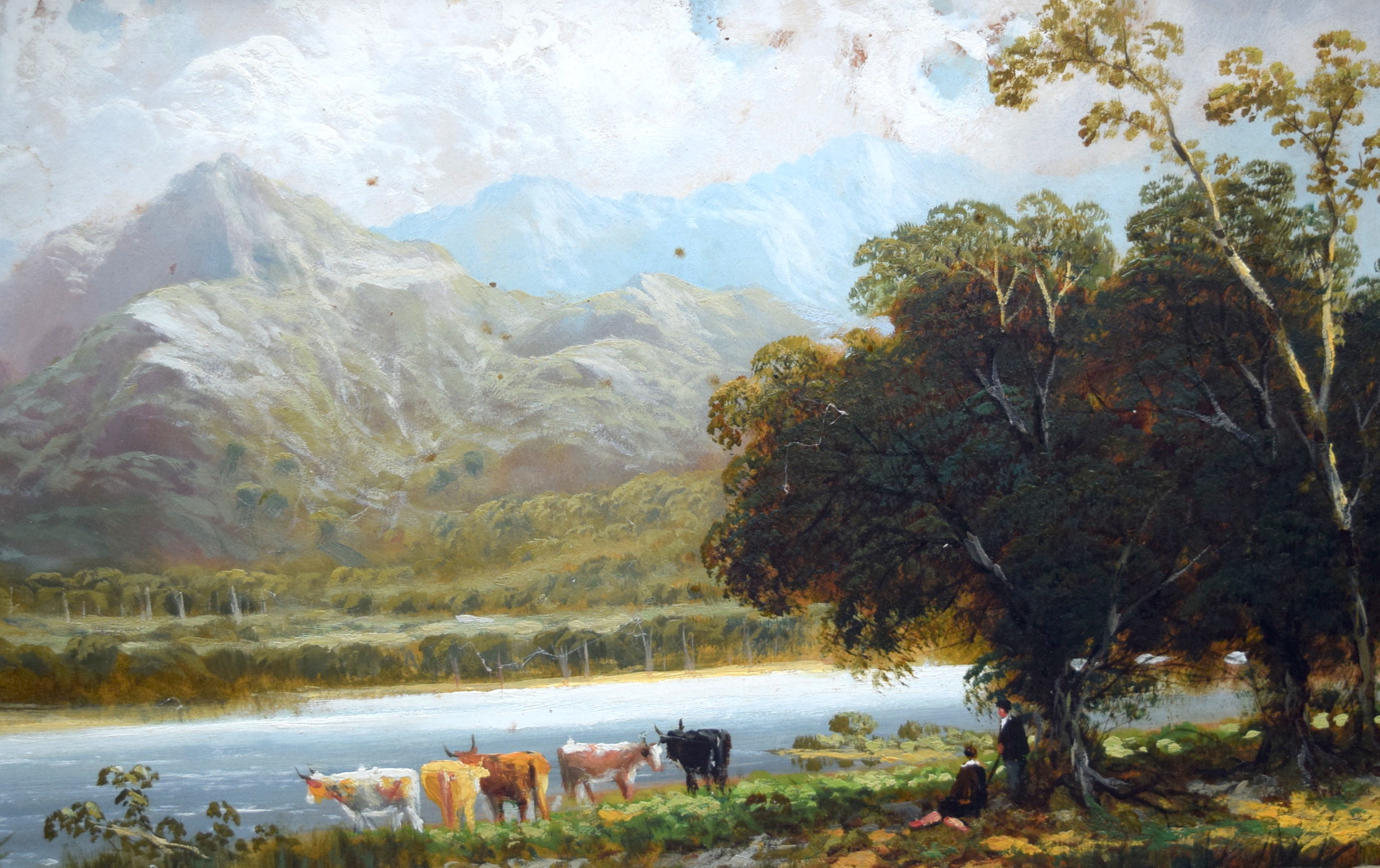 Lot 2245 - JOSEPH WRIGHTSON MCINTYRE (1841-1897) FRAMED OIL ON BOARD, figures with cattle in a mountainous lan