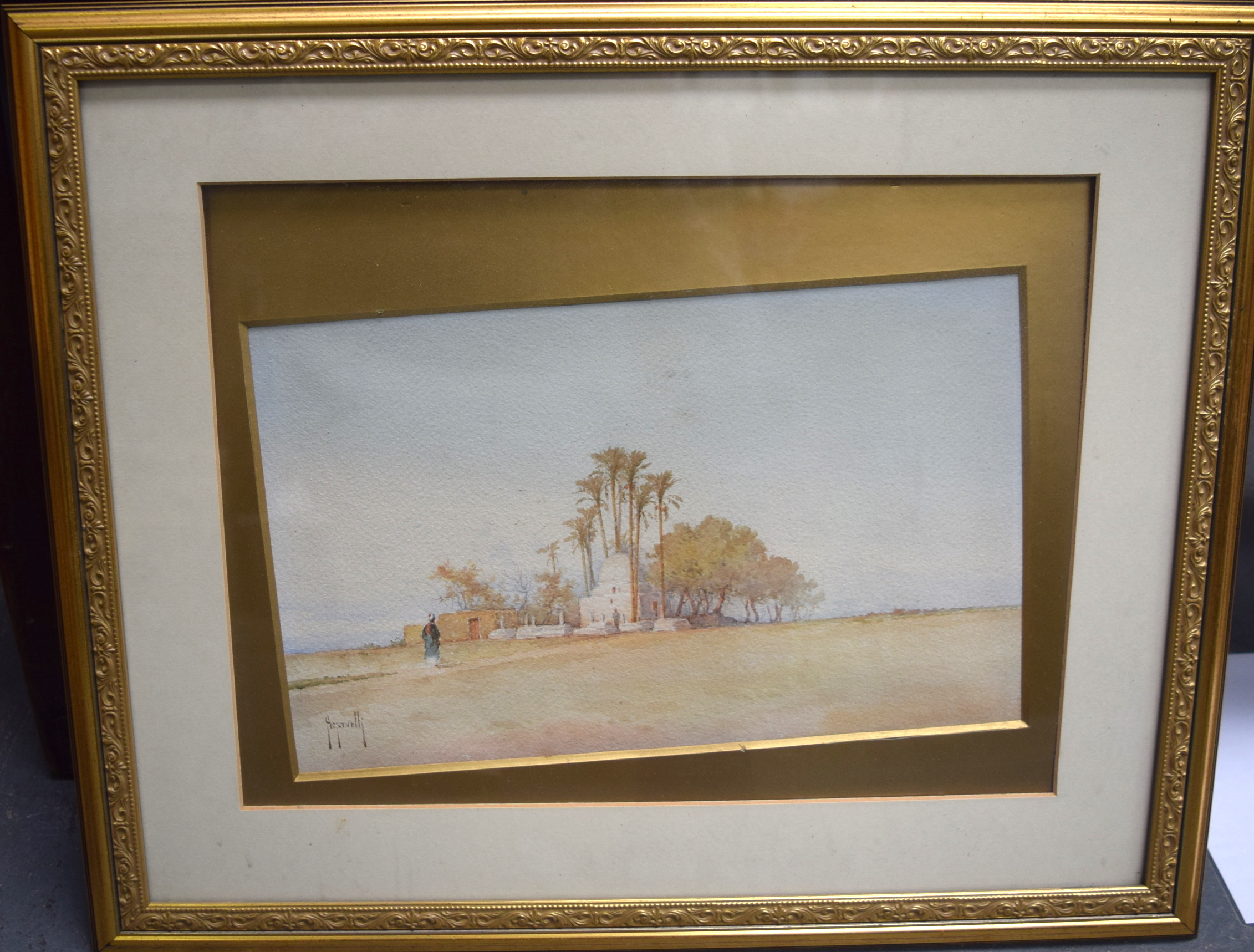 Lot 2791 - ARABIC SCHOOL (19th/20th century) FRAMED WATERCOLOUR, signed, a figure in a landscape. 21.5 cm x 35