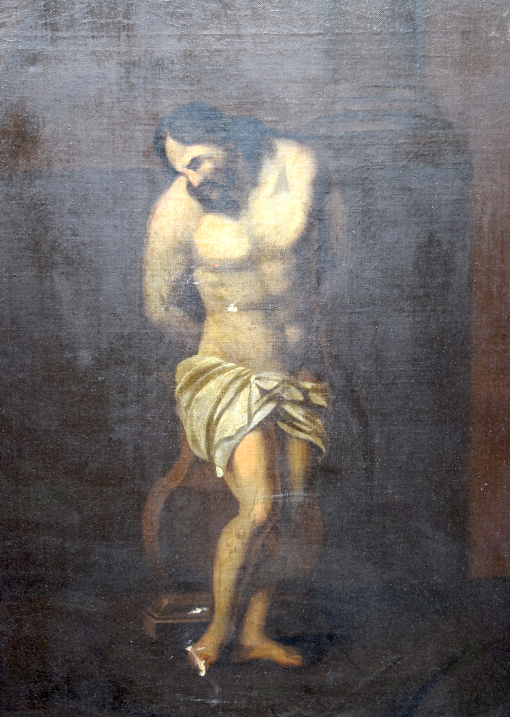 Lot 2077 - EUROPEAN SCHOOL (18th/19th century) FRAMED OIL ON CANVAS, a male in an interior, unsigned. 61 cm x
