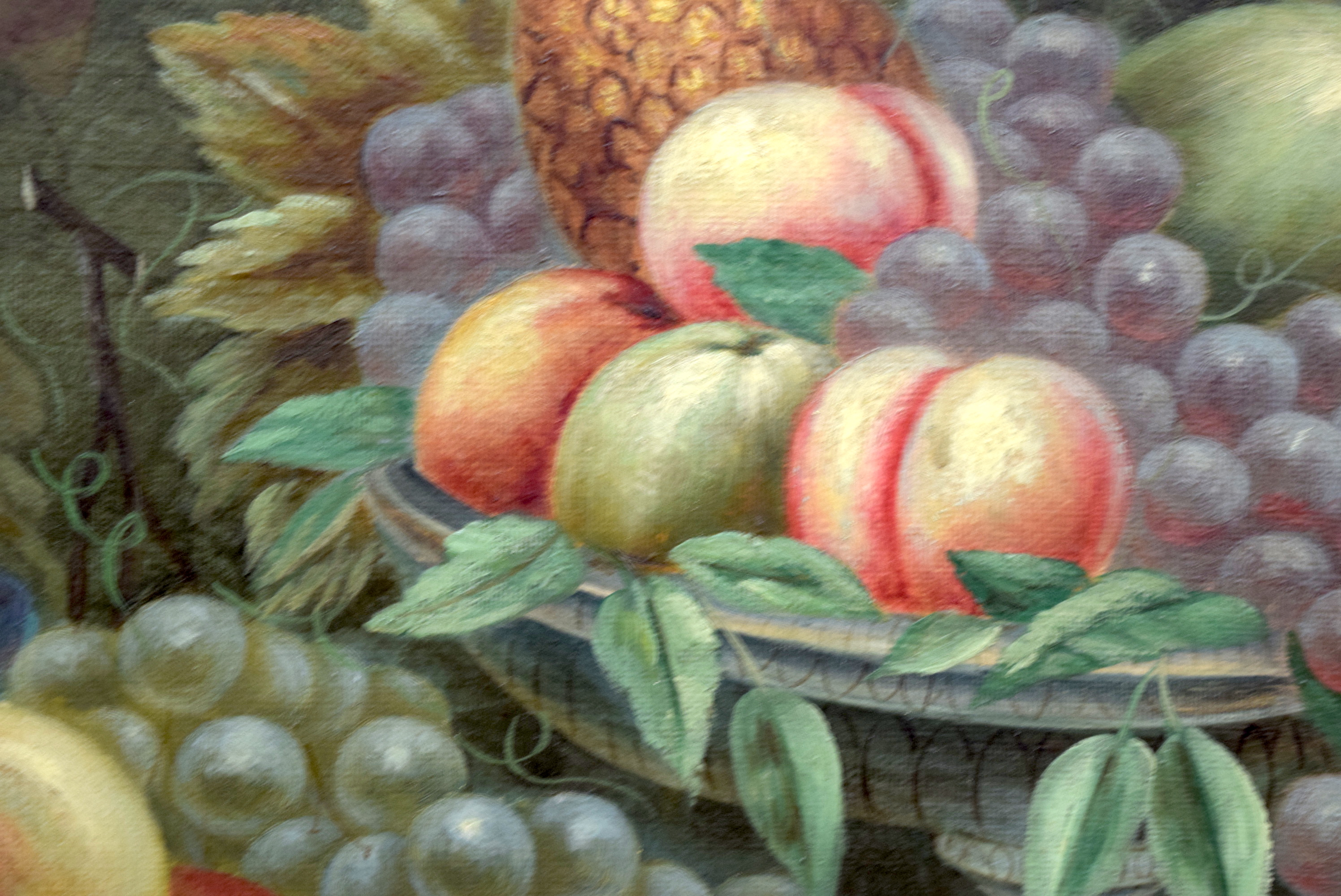Lot 2257 - CONTINENTAL SCHOOL (19th/20th century) FRAMED OIL CANVAS, still life study of fruit, unsigned. 60 c