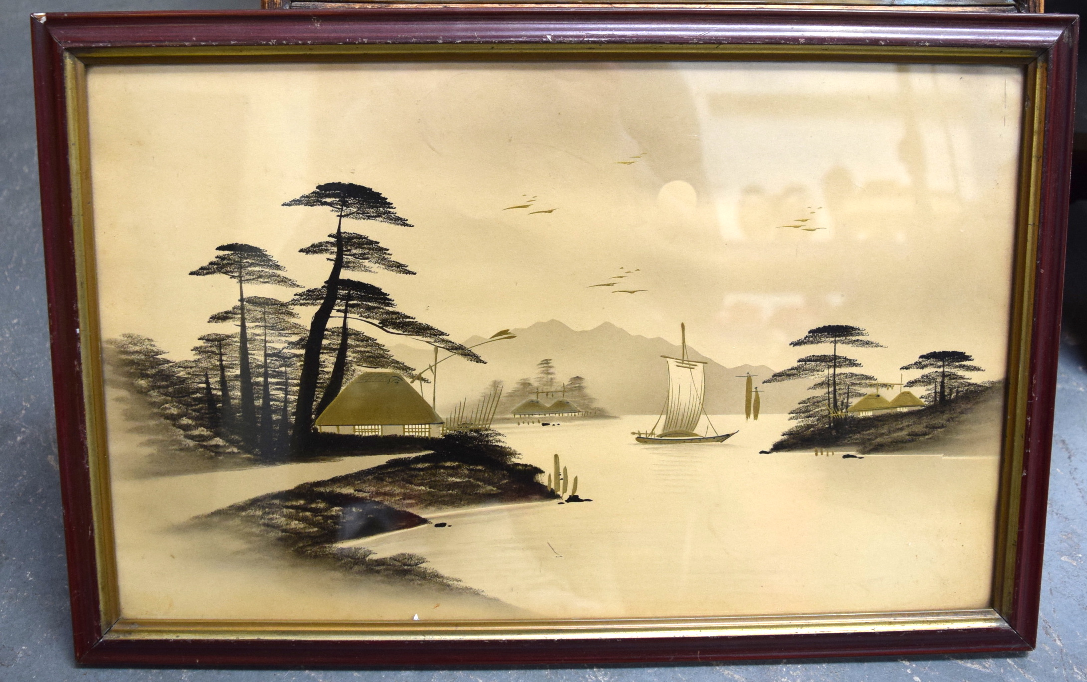 Lot 2786 - CHINESE SCHOOL (20th century) FRAMED LACQUERED PICTURE, depicting boats in a river scene. 28.5 cm x