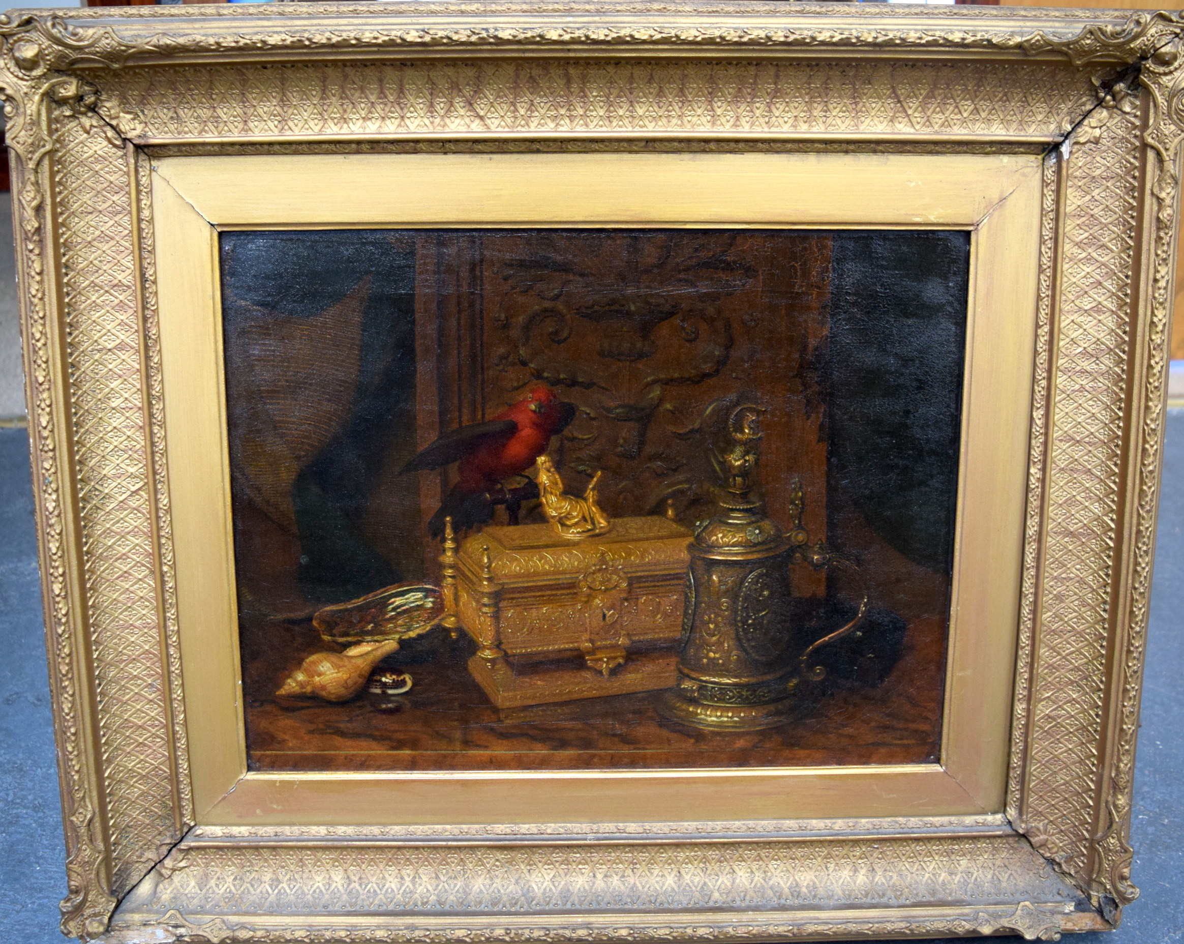 "Lot 2078 - FRANCIS PILKINGTON (19th century) BRITISH FRAMED OIL ON CANVAS, ""The Golden Casket"", label verso da"