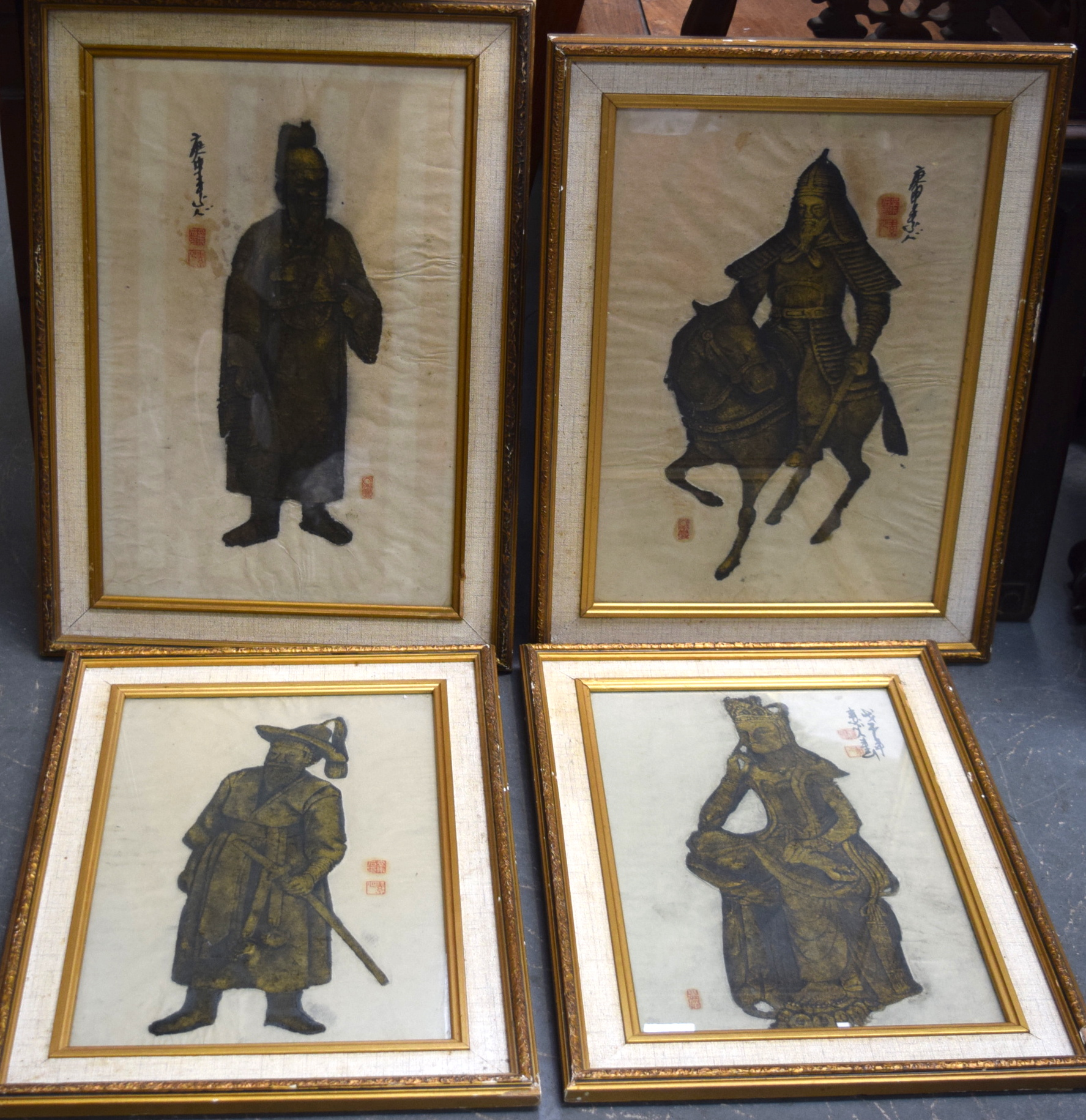 Lot 2819 - CHINESE SCHOOL (20th century) FRAMED SET OF FOUR PAINTING ON RICE PAPER, varying portraits. 41.5 cm