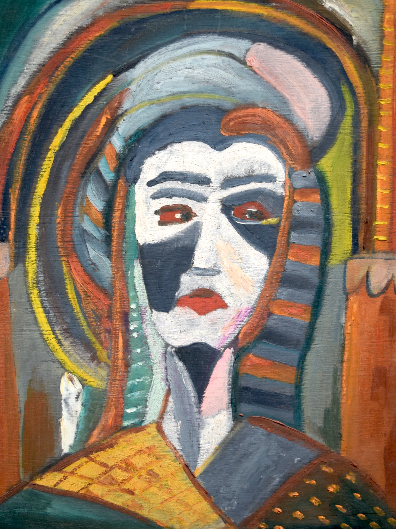 Lot 2910 - EUROPEAN SCHOOL (20th century) FRAMED OIL ON PANEL, abstract portrait of a female, unsigned. 48 cm
