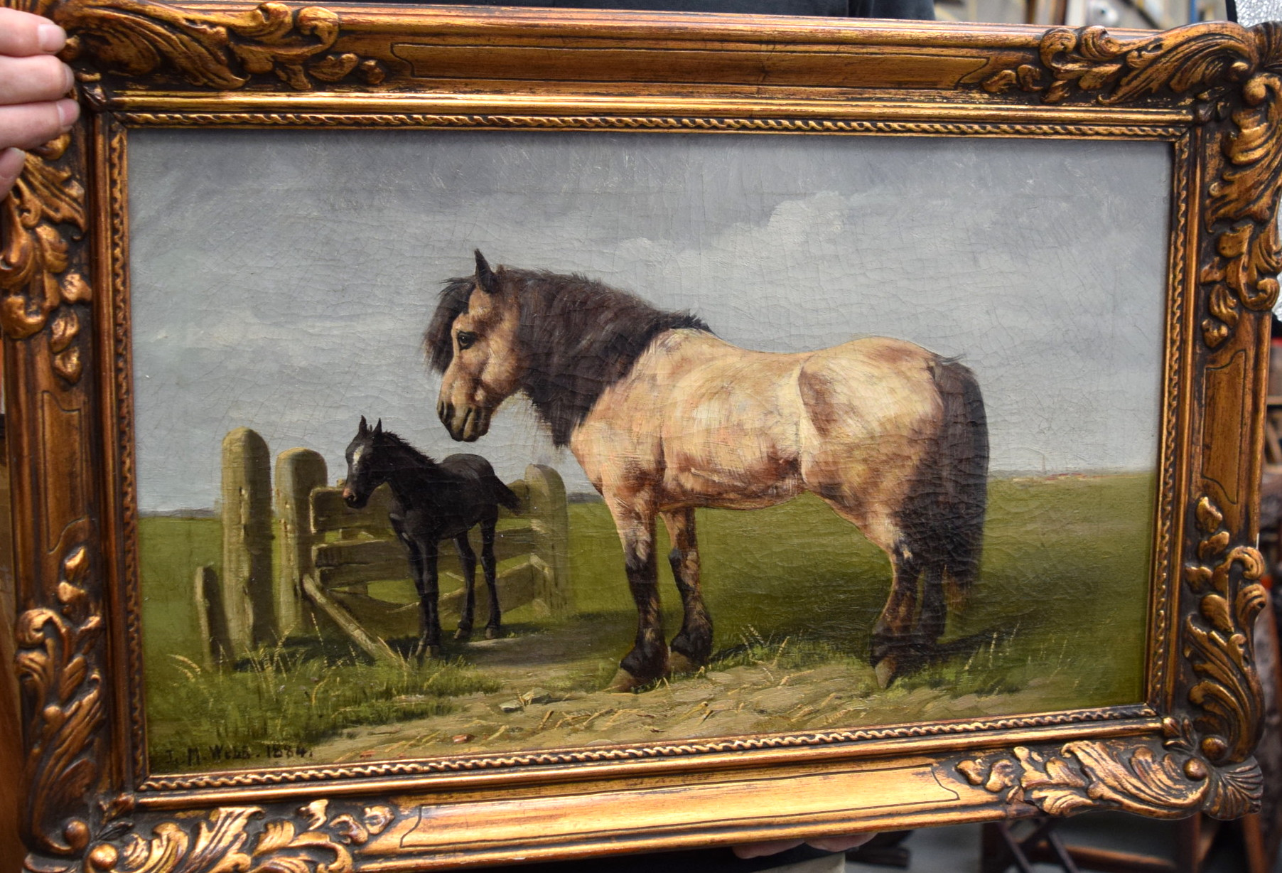 Lot 2913 - L M WEBB (British) FRAMED OIL ON CANVAS, signed & dated 1884, a standing horse with foal. 30.5 cm x