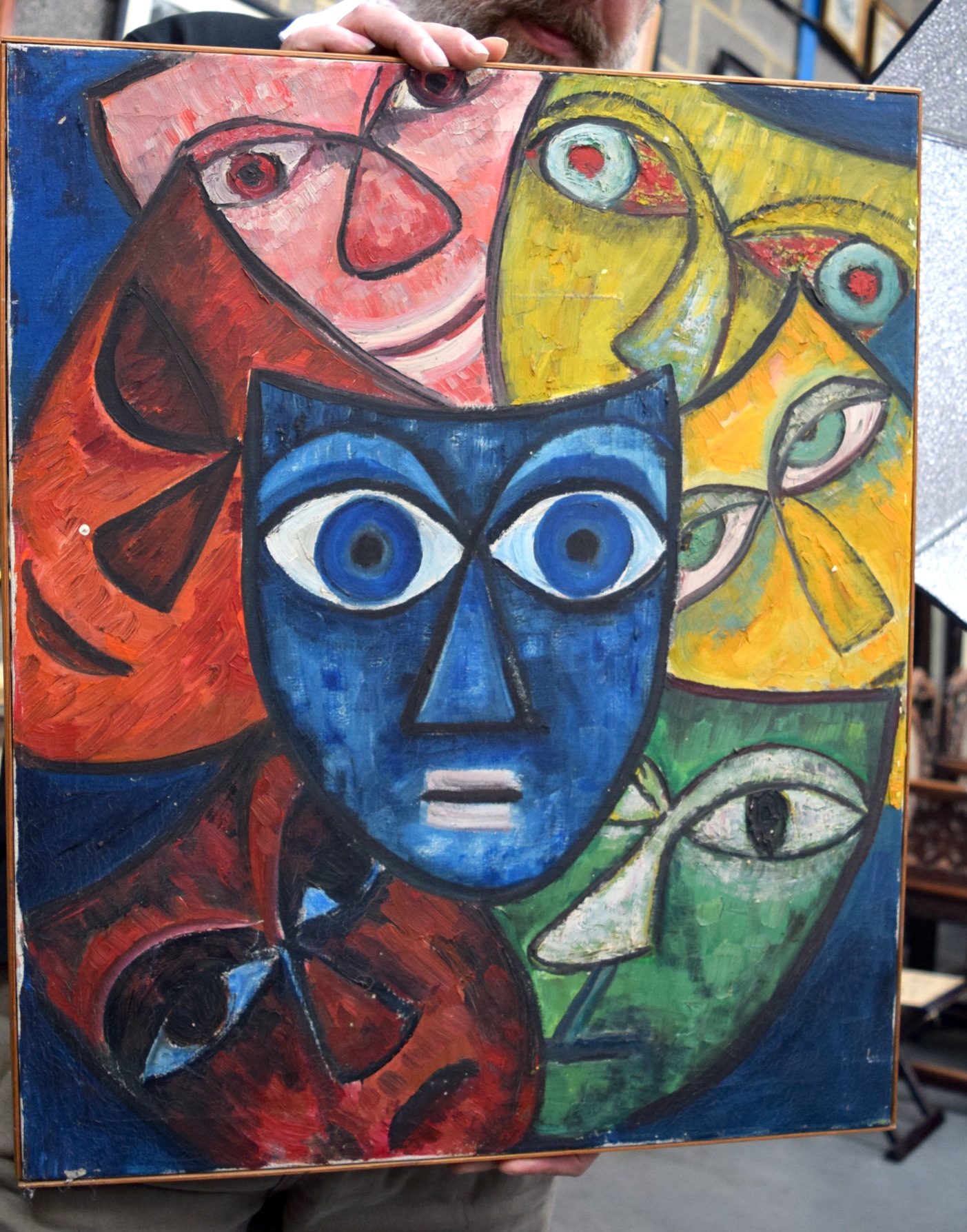 Lot 2912 - GERMAN SCHOOL UNFRAMED ABSTRACT EXPRESSIONIST OIL ON CANVAS,